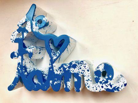 Multiplo Mr. Brainwash - Je t`aime Splash blue sculpture