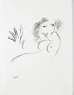Litografia Chagall - Jean Cassou: vingt-deux poèms