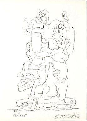 Litografia Zadkine - Jean Cassou: vingt-deux poèms