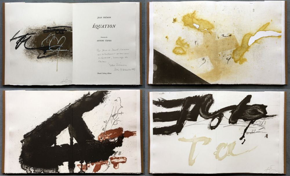 Libro Illustrato Tàpies - Jean Frémon: ÉQUATION. 5 aquatintes en couleurs dont deux signées (1987)