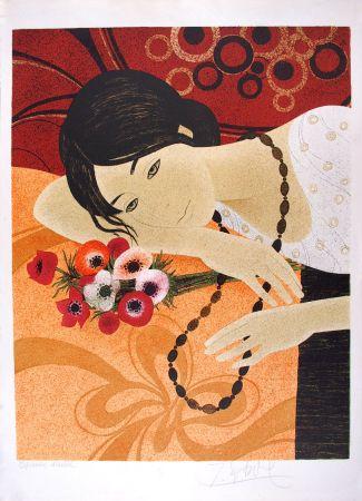 Litografia Ganne - Jeune femme au bouquet