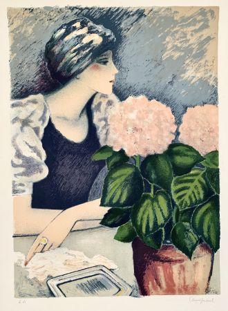 Litografia Cassigneul  - Jeune Femme au Hortensia