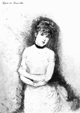 Acquaforte De Nittis - Jeune femme décolletée