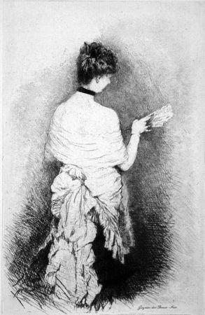 Acquaforte De Nittis - Jeune femme vue de dos
