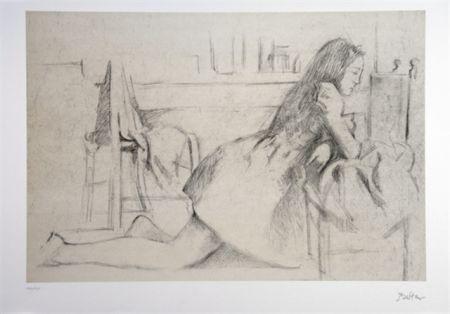 Litografia Balthus - Jeune fille agenouillée