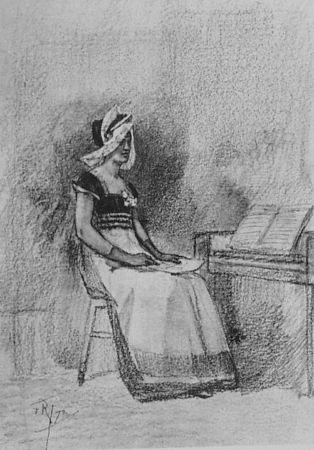 Litografia Rops - Jeune fille au clavenin