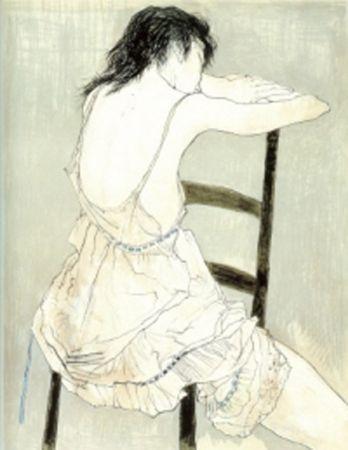 Litografia Jansem - Jeune Fille au Jupon Rose