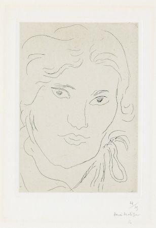 Incisione Matisse - Jeune fille de face, flot de ruban sur l'épaule gauche