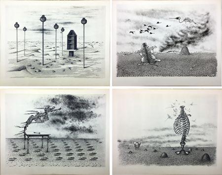 Libro Illustrato Toyen - Jindrich Heisler : CACHE-TOI GUERRE ! Poème. Cycle de 9 dessins de Toyen de 1944