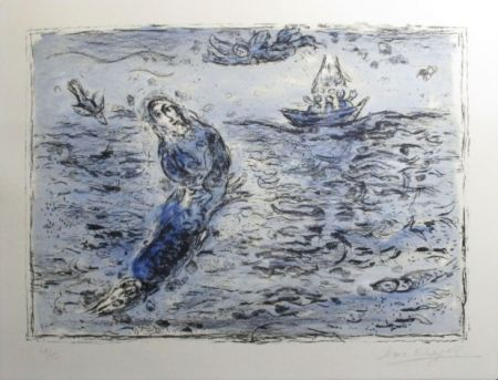 Litografia Chagall - Jonas Sur Fond Bleu