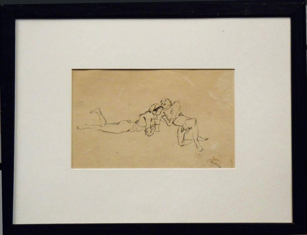 Non Tecnico Pascin - Jules Pascin. Couple allongé, vers 1922. Dessin.
