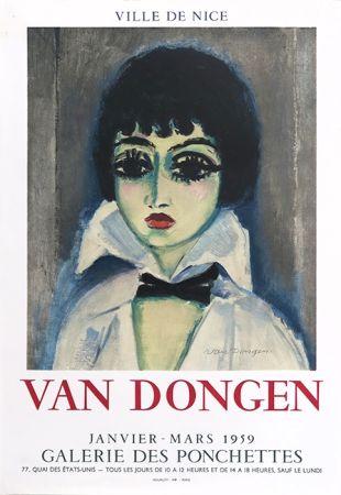 Litografia Van Dongen - Kees Van Dongen (1877-1968). Affiche Galerie des Ponchettes. 1959. Lithographie.