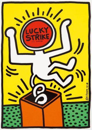 Litografia Haring - Keith Haring 'Lucky Strike II' 1987 Plate Signed Original Pop Art Poster