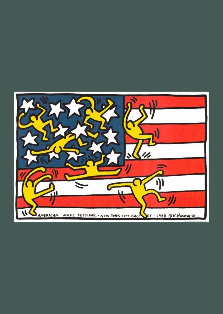 Litografia Haring - Keith Haring 'New York City Ballet' 1988 Plate Signed Original Pop Art Poster
