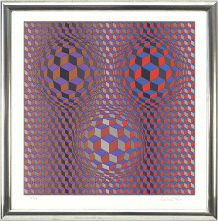 Litografia Vasarely - Komposition In Rot Und Violett