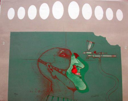 Litografia Wunderlich - Kopft mit maske