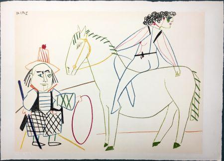 Litografia Picasso - L'écuyère et l'homme au cerceau (La Comédie Humaine - Verve 29-30. Vallauris 1954)