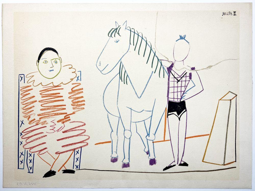 Litografia Picasso - L'écuyère, le cheval et le clown (La Comédie Humaine - Verve 29-30. 1954).