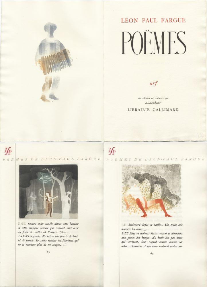 Libro Illustrato Alexeïeff - Léon-Paul Fargue : POÈMES. Eaux-fortes en couleurs par Alexeïeff (1943)