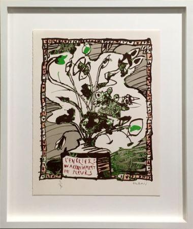 Litografia Alechinsky - L' encrier un arrangement de fleurs