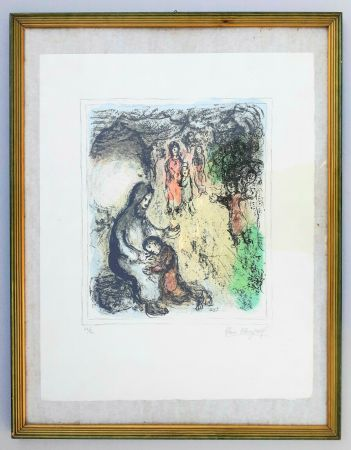 Litografia Chagall - La benediction de Jacob (Jacob's benediction)