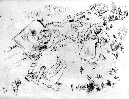 Acquaforte Chagall - La Britchka S'est Renversée