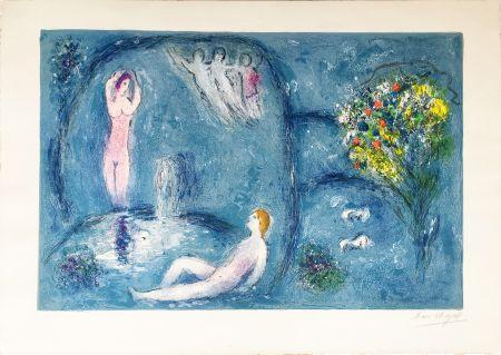 Litografia Chagall - LA CAVERNE DES NYMPHES (Daphnis & Chloé: de la suite à grandes marges) 1961.