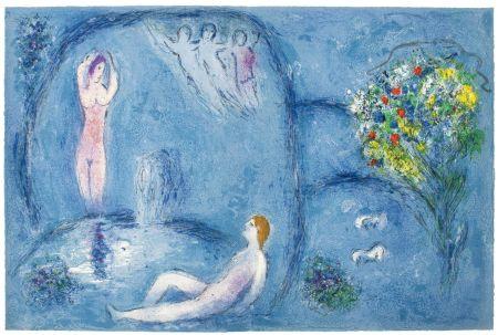 Litografia Chagall - LA CAVERNE DES NYMPHES (de Daphnis et Chloé - 1961)