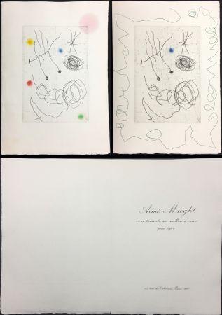Acquaforte E Acquatinta Miró - LA CHOUETTE ET L'ESCARGOT (Maeght, Vœux pour 1964). 2 états.