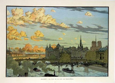Litografia Grasset - La Cité Vue du Pont des Saint Pères