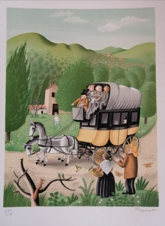 Litografia Peynet - La Diligence de Beaucaire