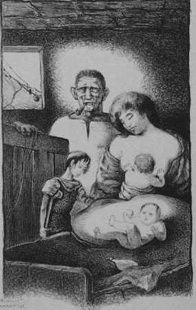 Litografia Martini - La famiglia del pescatore