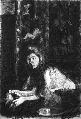 Acquaforte Besnard - La femme au vase