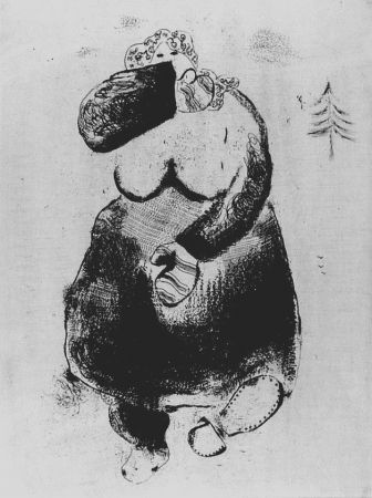 Acquaforte Chagall - La femme moineau