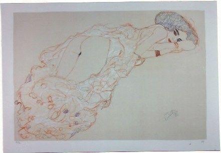 Litografia Klimt - La fille en robe longue