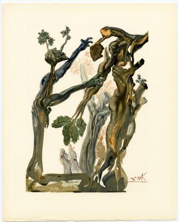 Incisione Su Legno Dali - La Forêt des Suicidés. La Divine Comédie (L' Enfer, Chant 13)