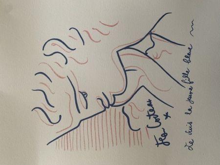 Litografia Cocteau - La jeune fille bleue