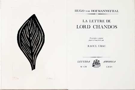 Libro Illustrato Ubac - La lettre de Lord Chandos