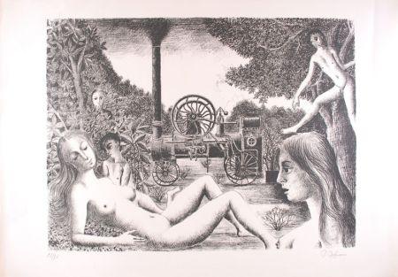 Litografia Delvaux - La Locomobile