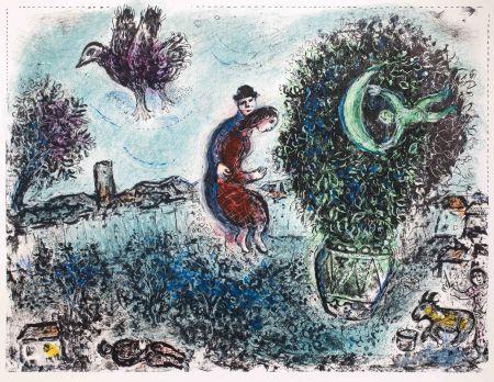 Litografia Chagall - La lune dans le bouquet