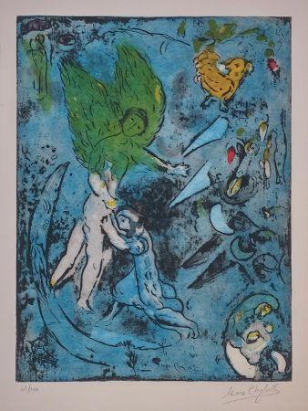 Litografia Chagall - LA LUTTE DE JACOB ET DE L'ANGE