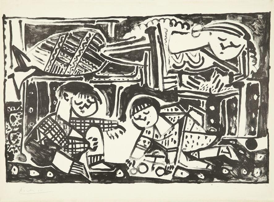 Litografia Picasso - La mère et les enfants