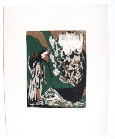Incisione Su Legno Jorn - La Mère Ibis