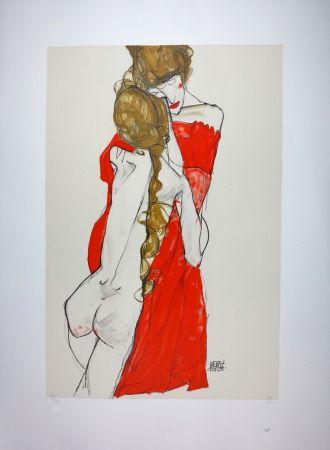 Litografia Schiele - La Mère & la fille / Mother and Daughter - 1913
