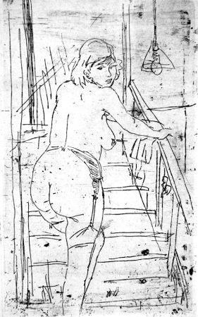 Acquaforte Manfredi - La modella bionda sulla scale