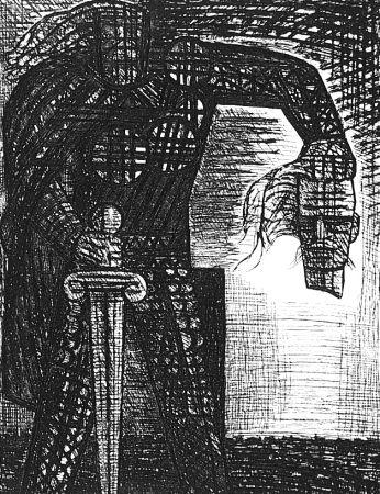 Acquaforte Gromaire - La mort de Macbeth