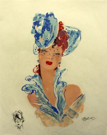 Litografia Domergue - La  Parisienne Femme au Chapeau Bleu
