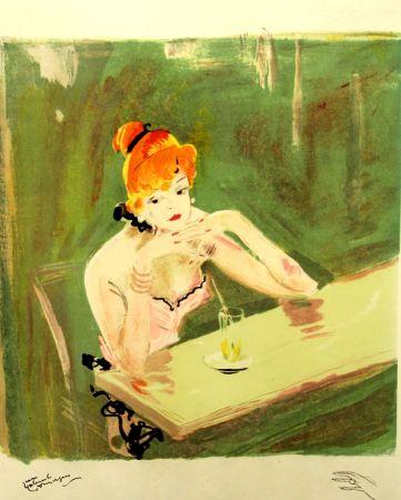 Litografia Domergue - La  Parisienne  Mauricette Au Cafe Caumartin