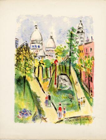 Litografia Utrillo - LA PLACE SAINT-PIERRE (le Sacré-Cœur). Épreuve pour Maurice Utrillo (1955)