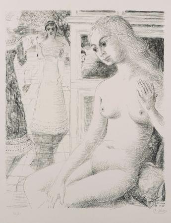 Litografia Delvaux - La rencontre